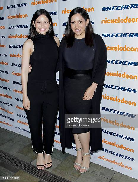 Sisters Melissa Carcache and Stephanie Carcache attend the 7th annual SKECHERS Pier To Pier Walk Check Presentation at Shade Hotel on March 10 2016...