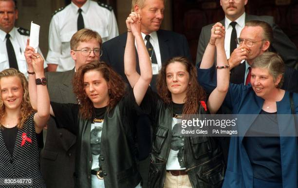 Sisters Michelle and Lisa Taylor celebrate with their sister and mother Ann outside the Court of Appeal after the pair were relesed from life...