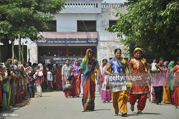 Sisters of Dasna jail inmates arrive at jail complex to tie up Rakhi to their brothers on the occasion of Indian festival Raksha Bandhan on August 29...
