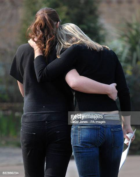 Sisters of Lindsay Ann Hawker Lisa and Louise after they spoke to the media outside their home in Brandon near Coventry