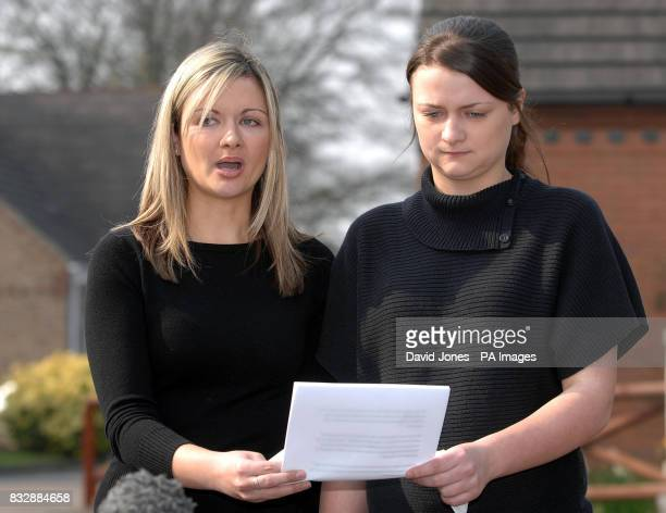 Sister's of Lindsay Ann Hawker Lisa and Louise speak to the media outside their home in Brandon near Coventry