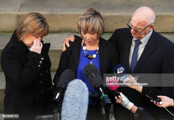 Sisters of PC David Rathband Julie Reece Debbie Essery and his father Keith Rathband read out a statement on the steps of the Moot Hall Newcastle as...