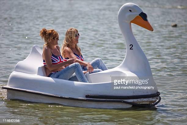 Sisters share swan shaped pedalo