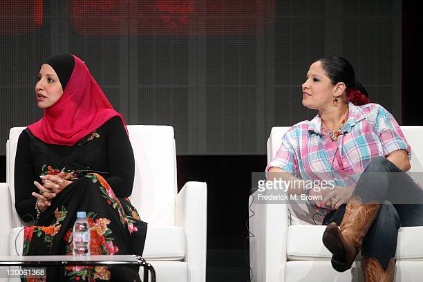 Sisters Suehaila Amen and Shadia AmenMcDermott speak during the 'AllAmerican Muslim' panel during the TLC Discovery Communications portion of the...