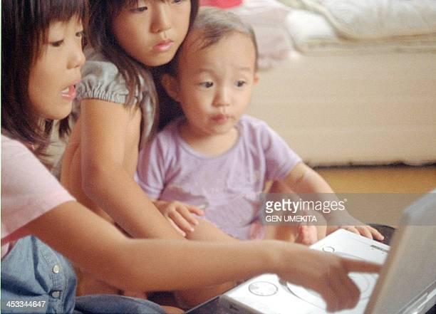 Sisters watching cartoon