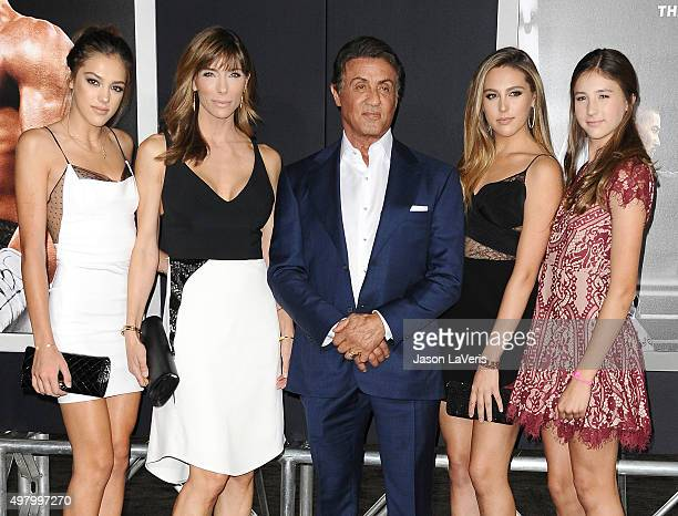Sistine Rose Stallone Jennifer Flavin Sylvester Stallone Sophia Rose Stallone and Scarlet Rose Stallone attend the premiere of 'Creed' at Regency...