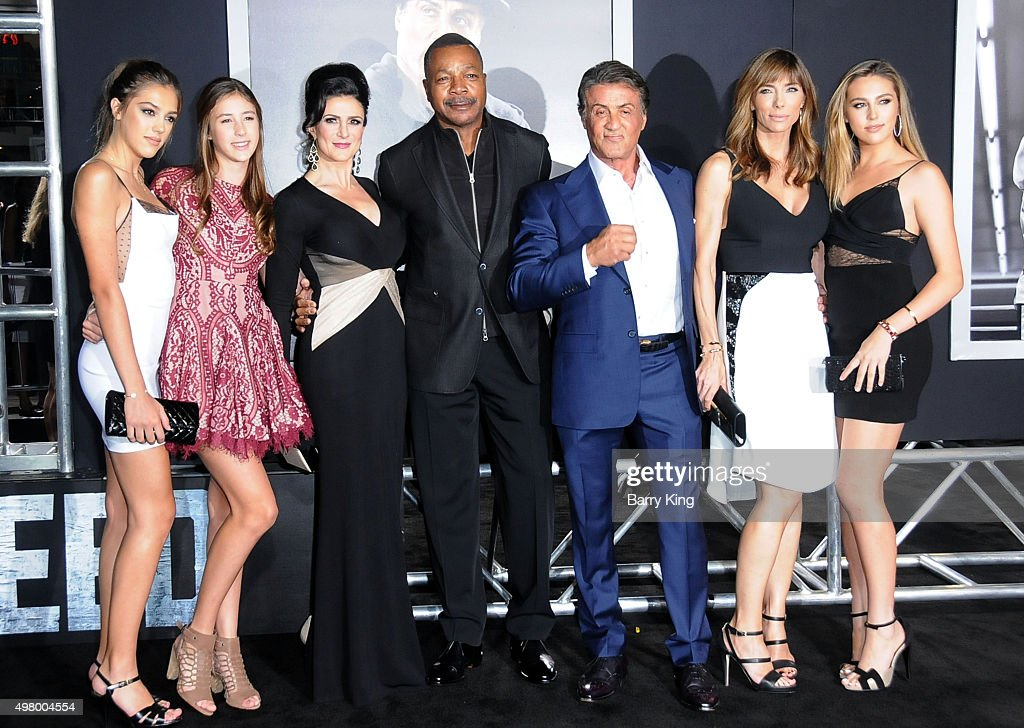 Sistine Rose Stallone, Scarlet Rose Stallone, Jennifer Peterson, actor Carl Weathers, actor/producer Sylvester Stallone, Jennifer Flavin and Sophia Rose Stallone attend the Premiere Of Warner Bros. Pictures' 'Creed' at the Regency Village Theatre on November 19, 2015 in Westwood, California.