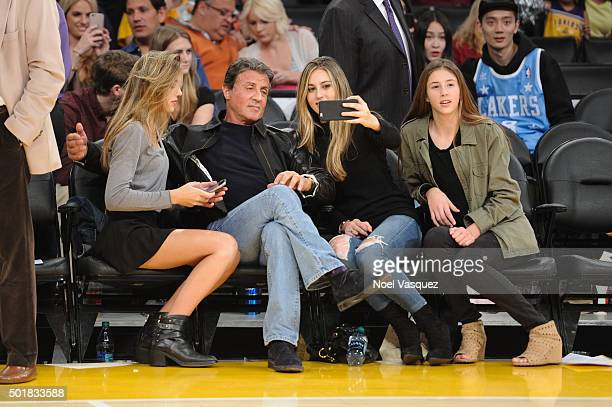 Sistine Rose Stallone Sylvester Stallone Sophia Rose Stallone and Scarlet Rose Stallone attend a basketball game between the Houston Rockets and the...