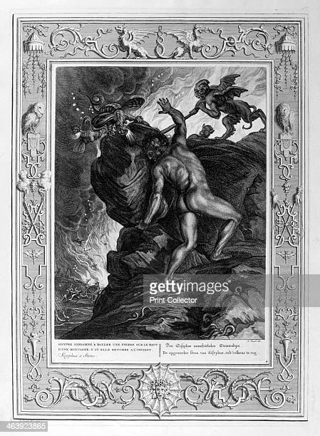 Sisyphus Pushing His Stone up a Mountain 1733 A plate from Le Temple des Muses Amsterdam 1733 Found in the collection of Jean Claude Carriere
