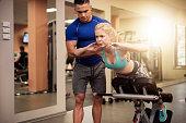 Sit ups on exercise machine