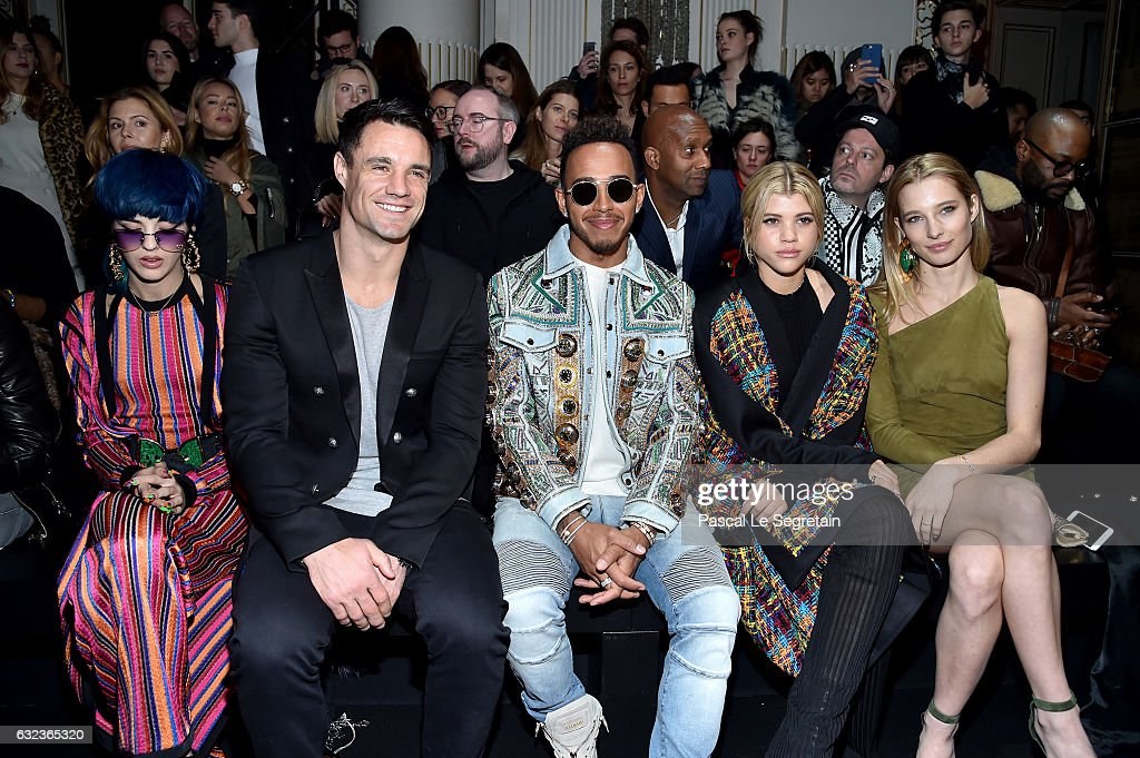 Sita Abellan, Dan Carter, Formula One driver, Lewis Hamilton, Sofia Richie and Ilona Smet attend the Balmain Menswear Fall/Winter 2017-2018 show as part of Paris Fashion Week on January 21, 2017 in Paris, France.
