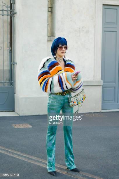 Sita Abellan is seen outside Missoni during Milan Fashion Week Spring/Summer 2018 on September 23 2017 in Milan Italy
