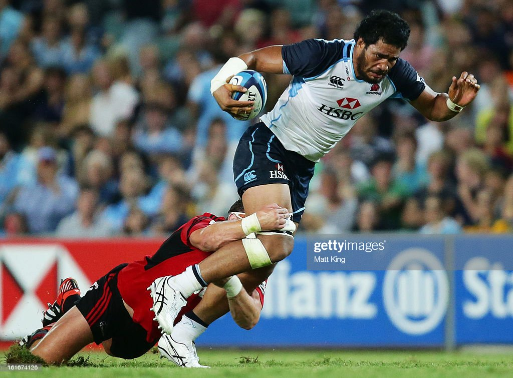 <a gi-track='captionPersonalityLinkClicked' href=/galleries/search?phrase=Sitaleki+Timani&family=editorial&specificpeople=4452628 ng-click='$event.stopPropagation()'>Sitaleki Timani</a> of the Waratahs charges forward during the Super Rugby trial match between the Waratahs and the Crusaders at Allianz Stadium on February 14, 2013 in Sydney, Australia.