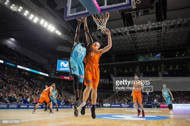 Sitapha Savané Tryggvi Hlinason and during Movistar Estudiantes victory over Valencia Basket Club in Liga Endesa regular season game celebrated in...