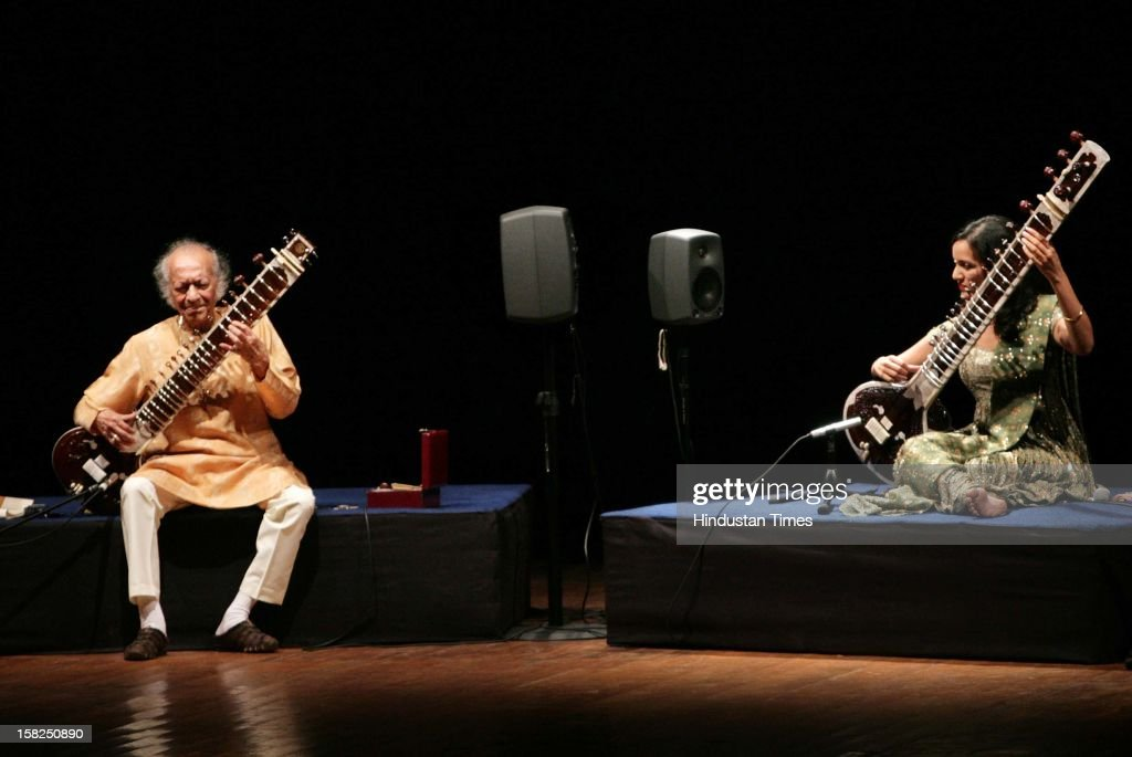 Sitar maestro Pandit Ravi Shankar with daughter Anoushka Shankar performing on March 01, 2009 in New Delhi, India. Sitar maestro and Bharat Ratna Pandit Ravi Shankar passed away at age of 92 in San Diego on December 11, 2012.