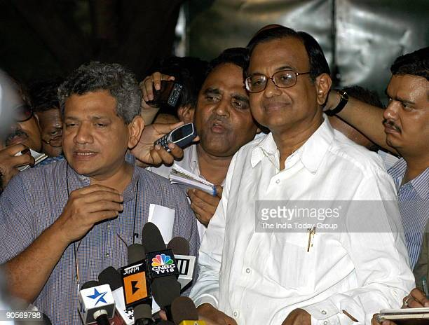 Sitaram Yechuri CPI Politburo Member with P Chidambaram Union Cabinet Minister of finance addressing the Media at Parliament House in New Delhi India