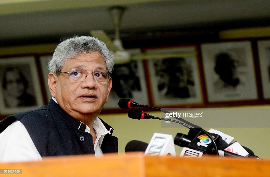 Sitaram Yechury General Secretary of the Communist Party of India addressing the media on November 17 2015 in New Delhi India