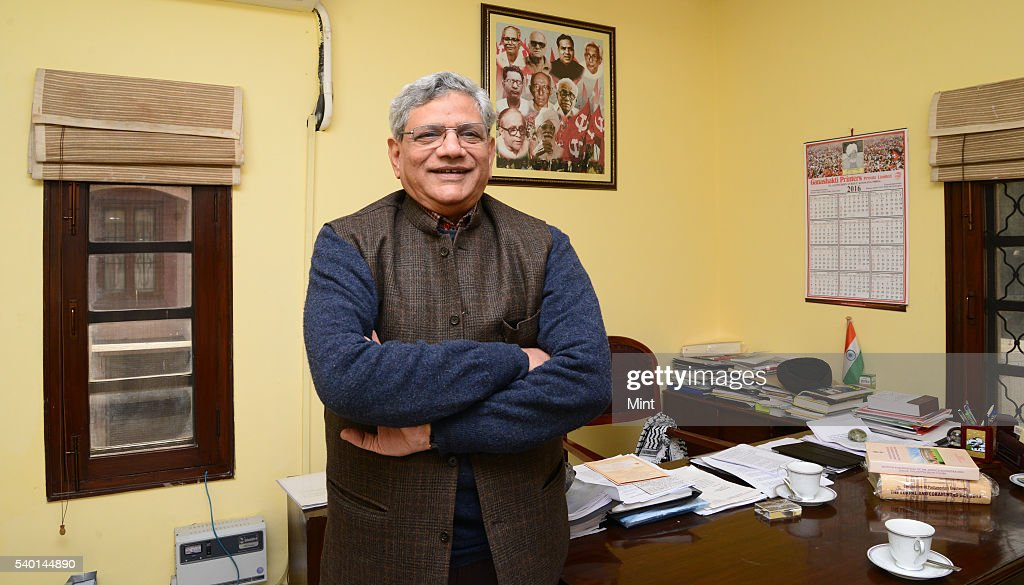 Sitaram Yechury Leader of the Communist Party of India General Secretary during an exclusive interview on January 25 2016 in New Delhi India