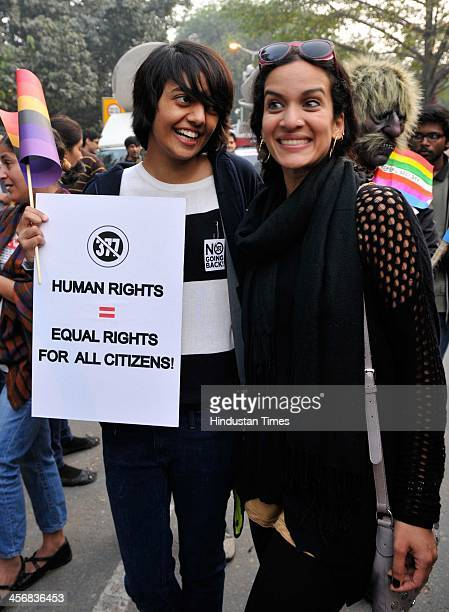 Sitarist Anoushka Shankar with LGBT activists protest against Supreme Court's judgement on Section 377 that upheld section 377 of the Indian Penal...