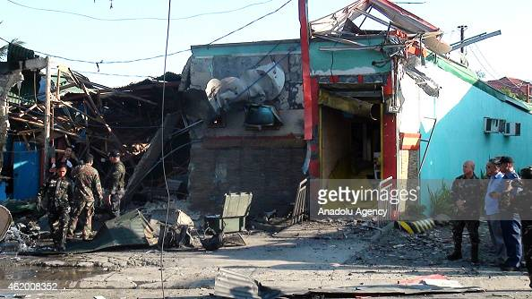A site of a bomb blast is seen outside a bus station in Zamboanga City on Janaury 23 2015 A powerful explosion rocked the southern city of Zamboanga...