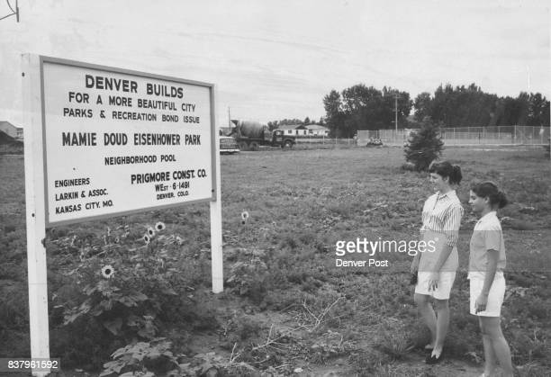 Site Of Mamie Eisenhower Park Rosaleen O'Meara of Miles City Mont and Judy Bach 3410 S Ash St read the sign marking site of Mamie Doud Eisenhower...