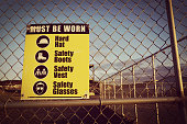 Site safety signs construction site for health and safety, vintage style.