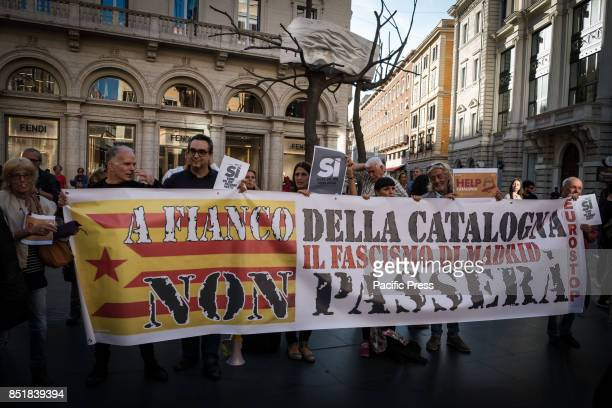 Sitin Pro Catalonia in Rome Largo Goldoni attended by several people to protest against the central government of Madrid that undertook the path of...