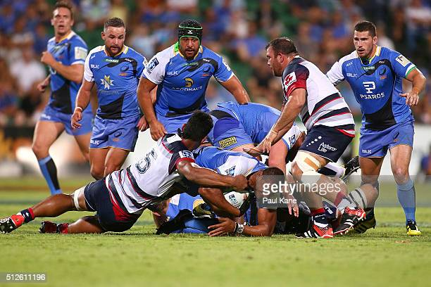 Sitiveni Mafi of the Force gets tackled during the round one Super Rugby match between the Force and the Rebels at nib Stadium on February 27 2016 in...