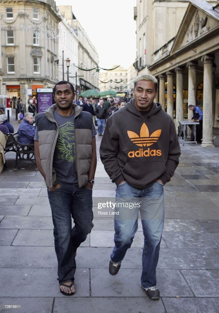 Sitiveni Sivivatu (L) and Jerry Collins of the All Blacks walk around Bath following training at the University Of Bath Sports Halls on November 21, 2006 in Bath, United Kingdom. New Zealand play Wales in an International rugby match on November 25.