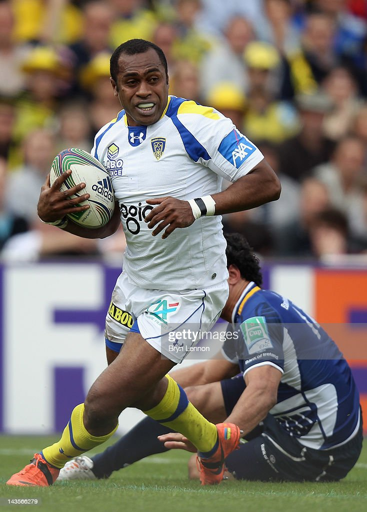 Sitiveni Sivivatu of ASM Clermont Auvergne is tackled by Isa Nacewaduring the Heineken Cup Semi Final between ASM Clermont Auvergne and Leinster at Stade Chaban-Delmas on April 29, 2012 in Bordeaux, France.