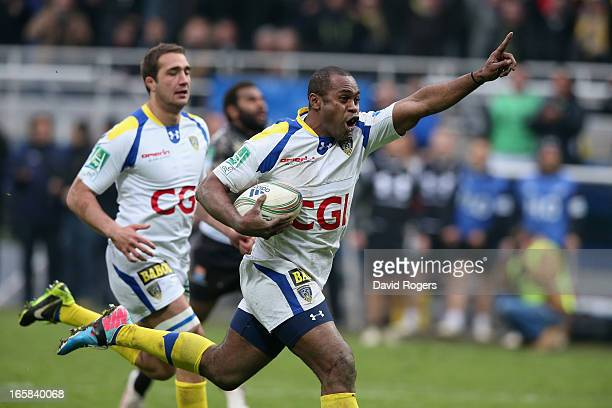 Sitiveni Sivivatu of Clermont Auvergne celebrates as he scores a try during the Heineken Cup quarter final match between Clermont Auvergne and...