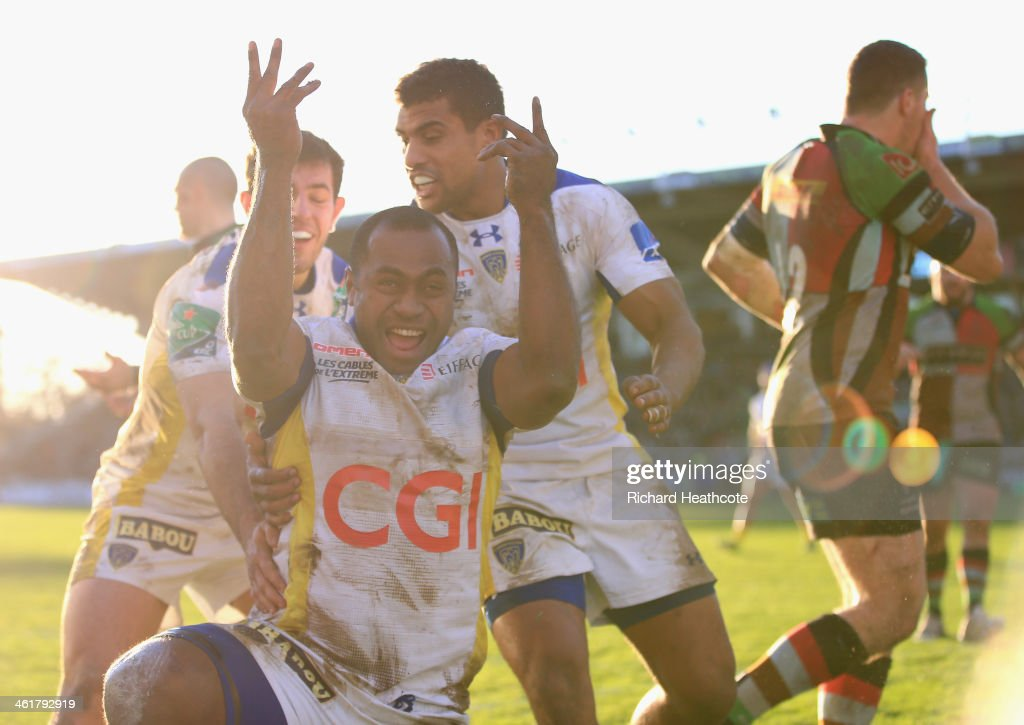 <a gi-track='captionPersonalityLinkClicked' href=/galleries/search?phrase=Sitiveni+Sivivatu&family=editorial&specificpeople=234893 ng-click='$event.stopPropagation()'>Sitiveni Sivivatu</a> of Clermont dives over to score a try during the Heineken Cup match between Harlequins and Clermont Auvergne at the Twickenham Stoop on January 11, 2014 in London, England.