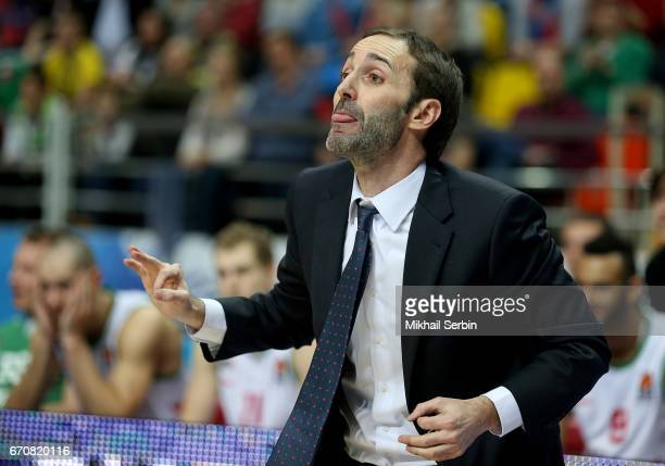Sito Alonso Head Coach of Baskonia Vitoria Gasteiz in action during the 2016/2017 Turkish Airlines EuroLeague Playoffs leg 2 game between CSKA Moscow...