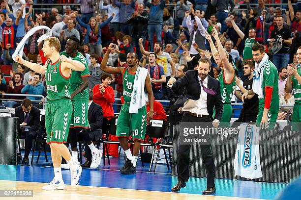 Sito Alonso Head Coach of Baskonia Vitoria Gasteiz reacts during the 2016/2017 Turkish Airlines EuroLeague Regular Season Round 6 game between...