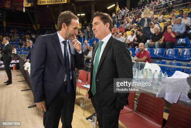 Sito Alonso Head Coach of FC Barcelona Lassa and Xavi Pascual Head Coach of Panathinaikos Superfoods Athens talking prior the 2017/2018 Turkish...