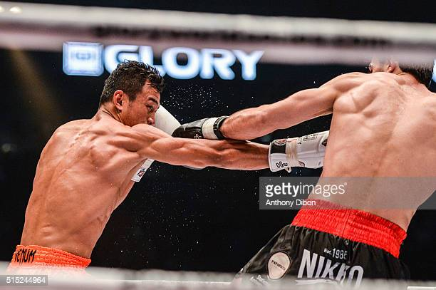 Sitsongpeenong and Marat Grigorian during the Kick Boxing World Championship at AccorHotels Arena on March 12 2016 in Paris France