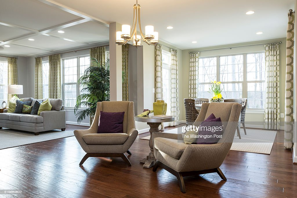 Sitting Dining and Living Area in the Lynhurst Model at Hickory Falls on March 1 2016 in Woodbridge Virginia