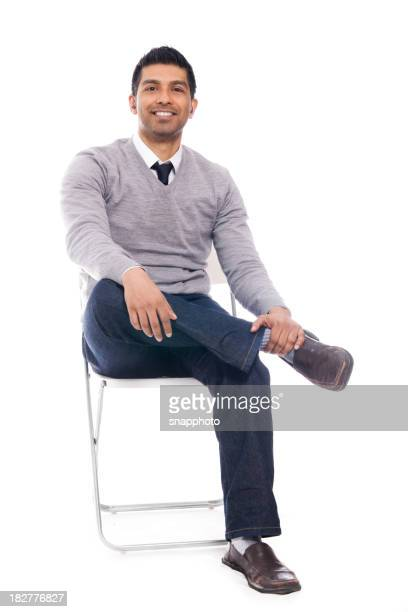 Sitting Man Isolated on White Background