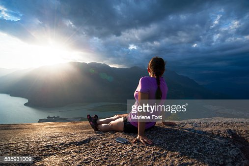 Sitting on the Chief, Squamish : Stock Photo