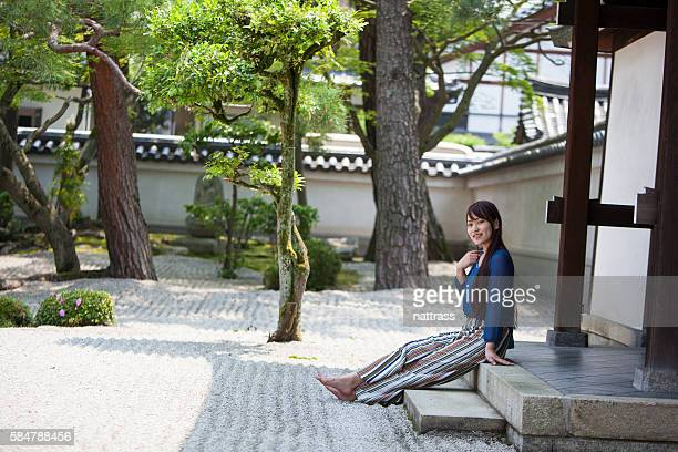Sitting peacefully in the Japanese garden