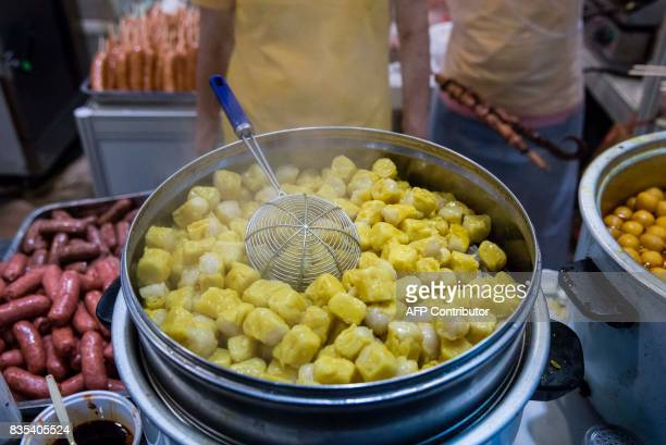 Siu mai a type of Chinese steamed dumpling is displayed at the food expo in Hong Kong on August 19 2017 This years food expo held at the Hong Kong...