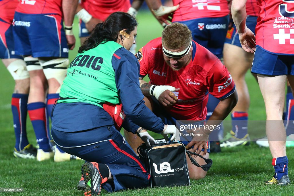 Siua Halanukonuka from Tasman gets some attention from the medic during the during the Mitre 10 Cup round one match between Tasman and Canterbury at Trafalgar Park on August 18, 2017 in Nelson, New Zealand.