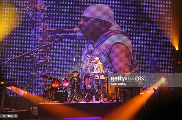 Sivamani performing at a concert 'A R Rahman Unplugged' organised to mark the 50th year of Doordarshan in New Delhi on Tuesday night