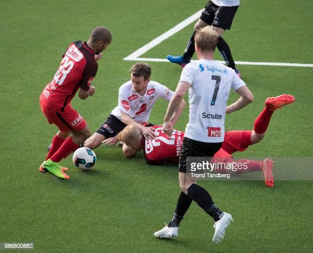 Sivert Heltne Nilsen Amin Mimoun Nouri of Brann Henrik Luggernes Furebotn Eirik Wilberg Schulze of Sogndal during Eliteserie Match between Sogndal v...