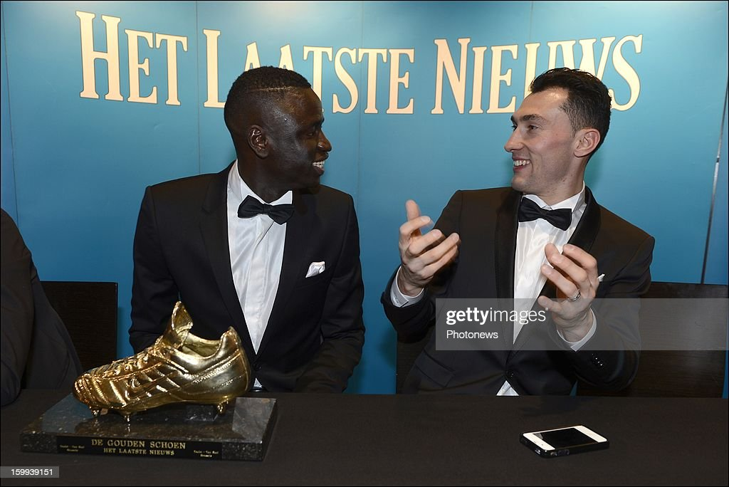 Sivio Proto and Cheikhou Kouyate, who received the award for Dieumerci Mbokani attend a press conference during the 59th edition of the Golden Shoe Award ceremony at theVTM studios on Janaury 23, 2013 in Vilvoorde, Belgium. The Golden Shoe (Gouden Schoen/Soulier d'Or) was awarded for the best soccer player of the Belgian Jupiler Pro League during the year 2012.