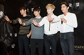 Siwon Donghae Henry and Kangin of South Korean boy band Super Junior attend the 'Snowpiercer' South Korea premiere at Times Square on July 29 2013 in...