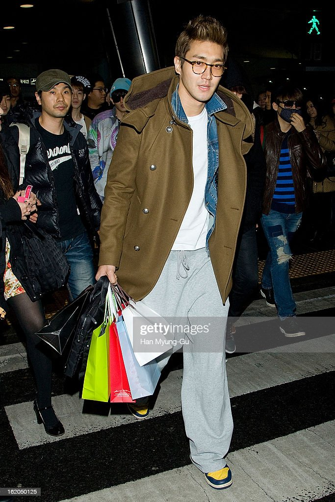 Siwon (Choi Si-Won) of boy band Super Junior M is seen upon arrival at Incheon International Airport on February 18, 2013 in Incheon, South Korea.
