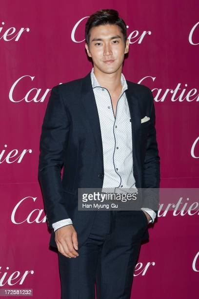 Siwon of South Korean boy band Super Junior attends the Cartier Paris Nouvelle Vague launch party at the Walkerhill Hotel on July 3 2013 in Seoul...