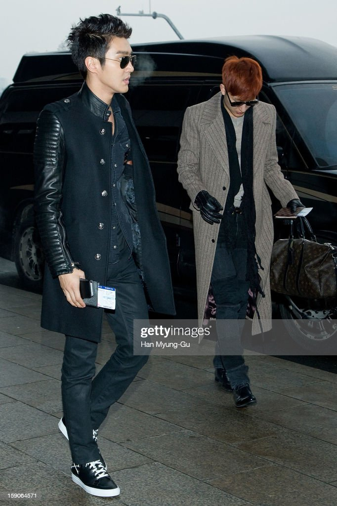 Siwon (Choi Si-Won) of South Korean boy band Super Junior is seen at Gimpo International Airport on January 7, 2013 in Seoul, South Korea.