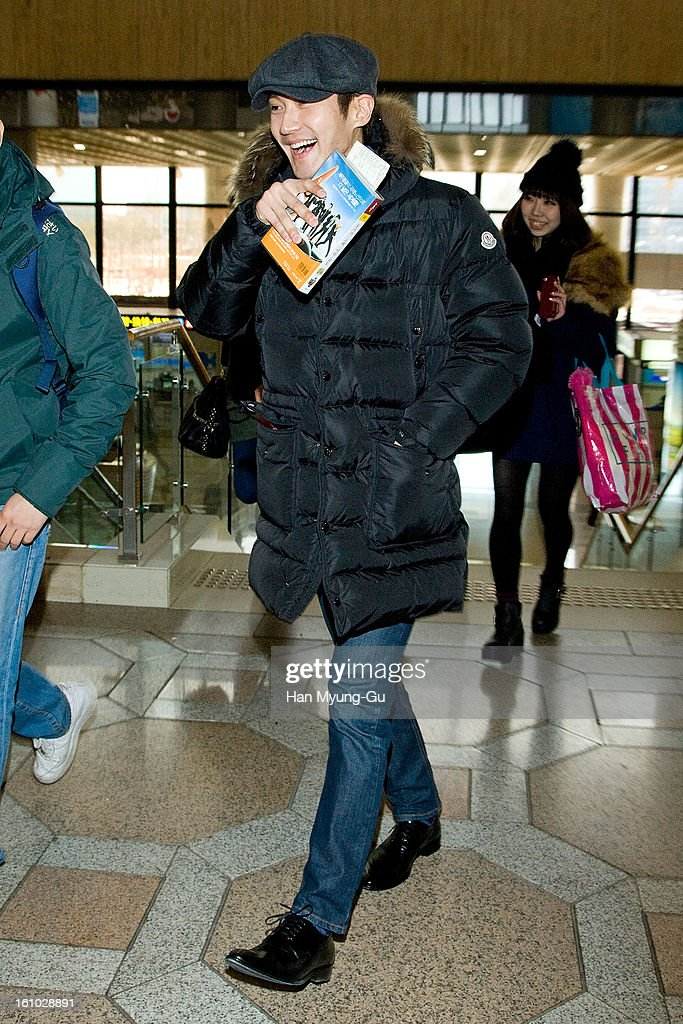 Siwon (Choi Si-Won) of South Korean boy band Super Junior is seen at Gimpo International Airport on February 8, 2013 in Seoul, South Korea.